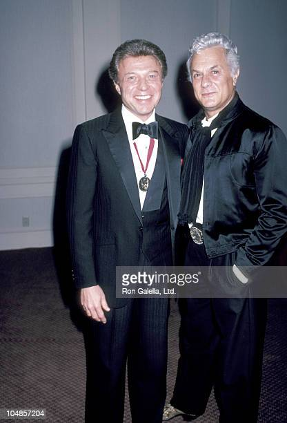 Tony Curtis and Steve Lawrence during Hebrew University Jewish Society Gala at Century Plaza Hotel in Los Angeles California United States