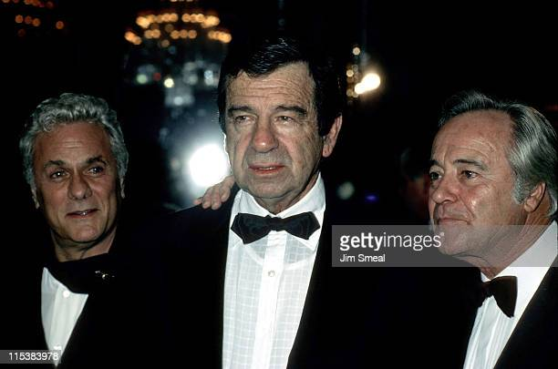 Tony Curtis Walter Matthau and Jack Lemmon during AFI Lifetime Achievement Award to Billy Wilder at Beverly Hilton Hotel in Beverly Hills California...