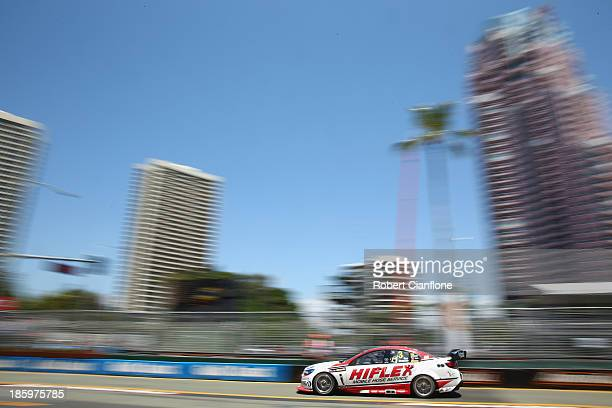Tony D'Alberto drives the Hiflex Holden during qualifying for the Gold Coast 600 which is round 12 of the V8 Supercars Championship Series at the...