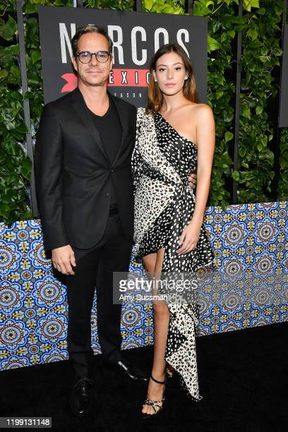 "Tony Dalton and Alejandra Guilmant attend the premiere of Netflix's ""Narcos: Mexico"" Season 2 at Netflix Home Theater on February 6, 2020 in Los..."