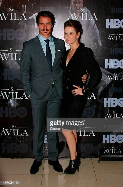 Tony Dalton and Nailea Norvind pose for pictures during the press conference to present the second season of the series Sr Avila on September 23 2014...