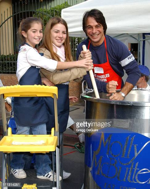 Tony Danza & daughters Emily & Katie during Los Angeles Mission Thanksgiving Meal for the Homeless in Los Angeles, California, United States.