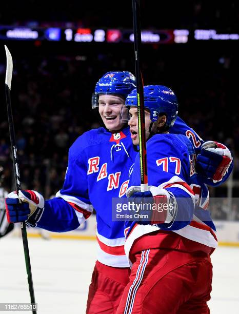 Tony DeAngelo of the New York Rangers celebrates with Kaapo Kakko after scoring his second goal of the second period during their game against the...