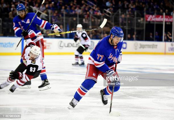 Tony DeAngelo of the New York Rangers controls the puck during their game against the Arizona Coyotes at Madison Square Garden on October 22 2019 in...
