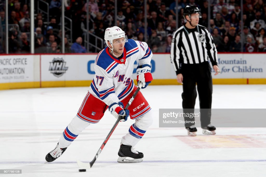 Tony DeAngelo #77 of the New York Rangers looks for an open shot against the Colorado Avalanche at the Pepsi Center on January 20, 2018 in Denver, Colorado.
