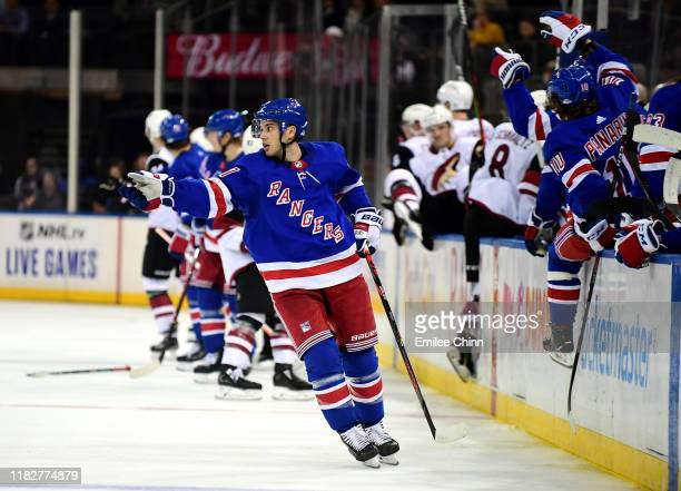 Tony DeAngelo of the New York Rangers reacts during the third period of their game against the Arizona Coyotes at Madison Square Garden on October 22...