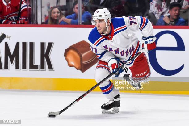 Tony DeAngelo of the New York Rangers skates against the Montreal Canadiens during the NHL game at the Bell Centre on February 22 2018 in Montreal...