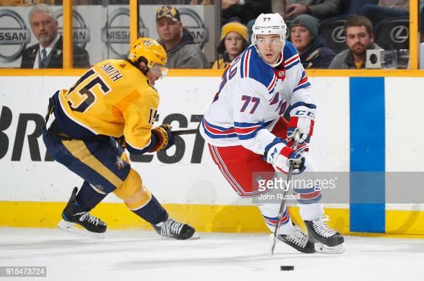 Tony DeAngelo of the New York Rangers skates against the Nashville Predators during an NHL game at Bridgestone Arena on February 3 2018 in Nashville...