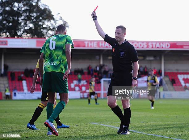 Tony Diagne of Hemel Hempstead Town is sent off by Match Referee Richard Hulme during The Emirates FA Cup Qualifying Third Round match between...