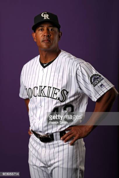 Tony Diaz of the Colorado Rockies poses on photo day during MLB Spring Training at Salt River Fields at Talking Stick on February 22 2018 in...