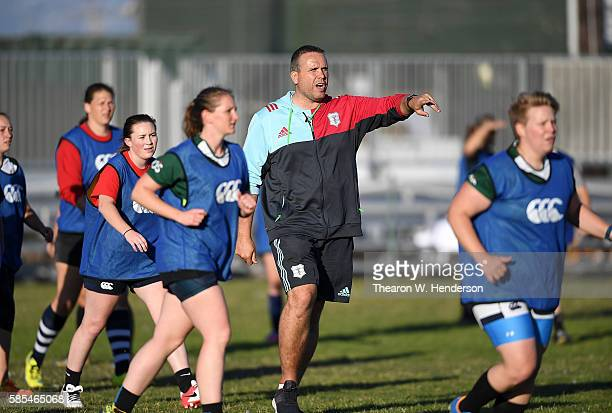 Tony Diprose Academy and Global Development Director of Harlequins coaches women's rugby clubs from the Bay Area at San Francisco Golden Gate RFC on...