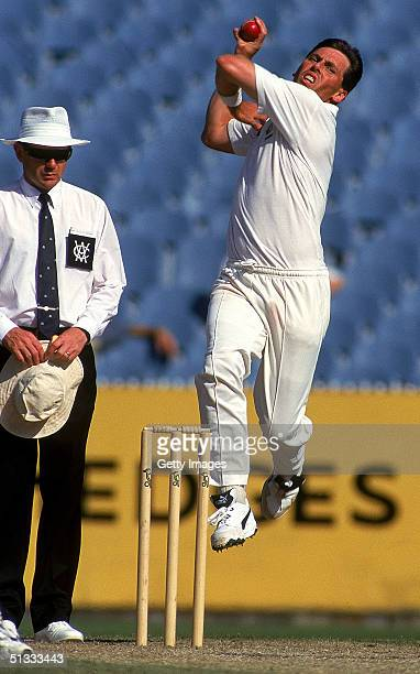 Tony Dodemaide of the Victorian Bushrangers in action during a Sheffield Sheild match held at the Melbourne Cricket Ground 1996 in Melbourne Australia