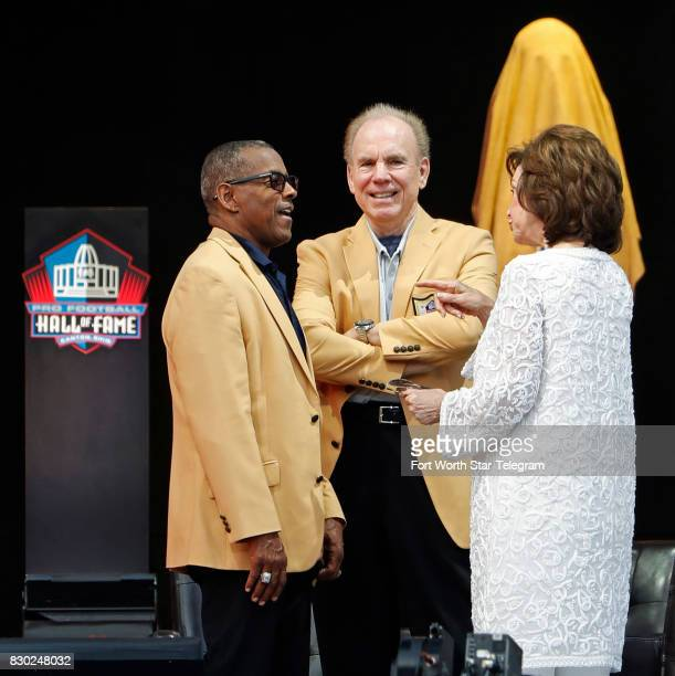 Tony Dorsett Roger Staubach and Gene Jones visit during a TV broadcast commercial break The 2017 NFL Hall of Fame class including Dallas Cowboys...