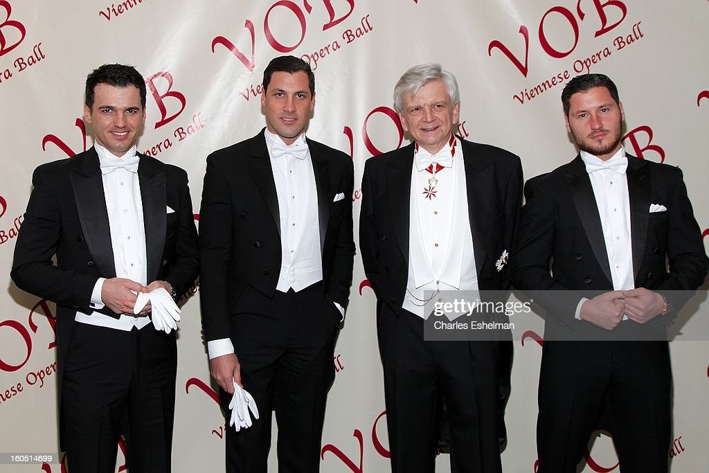 Tony Dovolani, Hans-Peter Manz, Maksim Chmerkovskiy and Valentin Chmerkovskiy attend The 58th Annual Viennese Opera Ball at The Waldorf=Astoria on February 1, 2013 in New York City.