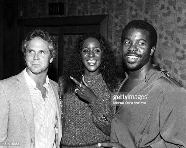 Tony Dow Shirley Jones of the Jones Girls and musician Kashif attend a press reception for a National Black Adoption Awareness Drive in circa 1985 in...