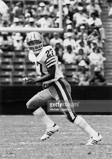 Tony Dungy of the San Francisco 49ers runs up the field during a game against the Los Angeles Rams at Los Angeles Memorial Coliseum on September...