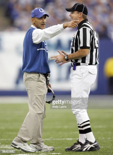 Tony Dungy the Head Coach of the Indianapolis Colts argues his point to an offical during the NFL game against the San Diego Chargers at the RCA Dome...