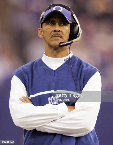 Tony Dungy the head coach of the Indianapolis Colts looks on during the NFL game against the Pittsburgh Steelers on November 28 2005 at the RCA Dome...