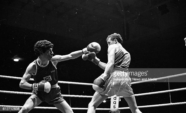 Tony Dunlop and Allen Dixon in th Lightweight Contest at The National Stadium circa January 1983