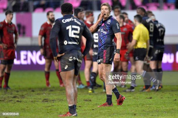 Tony Ensor of Stade Francais reacts during the European Rugby Challenge Cup match between Stade Francais and Edinburgh at Stade JeanBouin on January...
