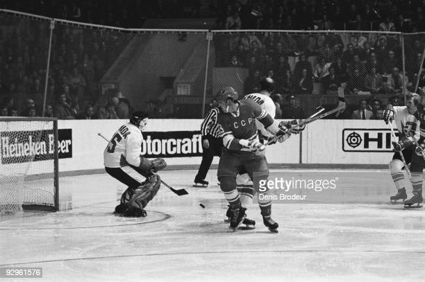 Tony Esposito of Team Canada defends the net against Boris Mikhailov and Team USSR during the 1972 Summit Series September 1972 Luzhniki Ice Palace...