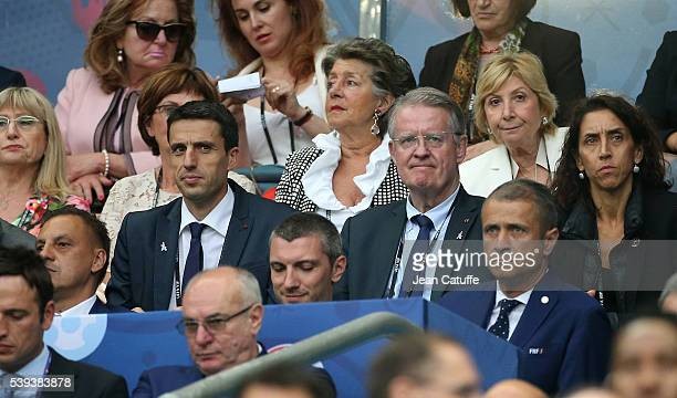 Tony Estanguet and Bernard Lapasset attend the UEFA Euro 2016 Group A opening match between France and Romania at Stade de France on June 10 2016 in...