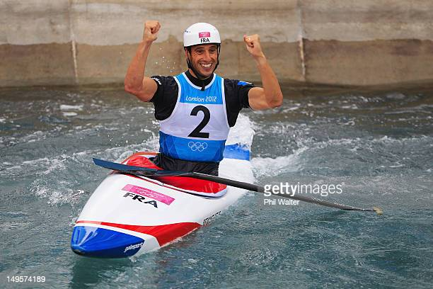 Tony Estanguet of France celebrates after competing in the Men's Canoe Single Slalom final on Day 4 of the London 2012 Olympic Games at Lee Valley...