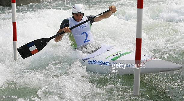 Tony Estanguet of France competes in the 2008 Beijing Olympic Games Men's singles canoe C1 semifinal at the Shunyi Rowing and Canoeing Park in...
