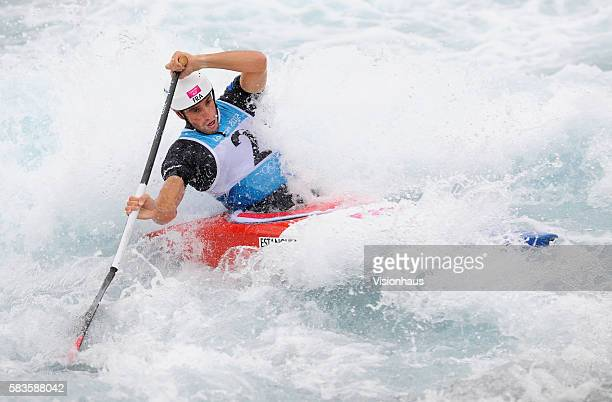 Tony Estanguet of France in action during the Mens Canoe Slalom final as part of the 2012 London Olympic Summer Games at the North Greenwich Arena,...
