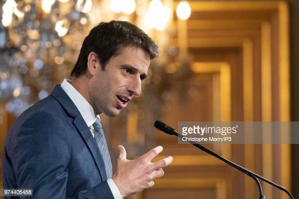 Tony Estanguet, President of Paris 2024 attends the signing of joint funding protocol for the Paris 2024 Olympic Games attends the ceremony of...