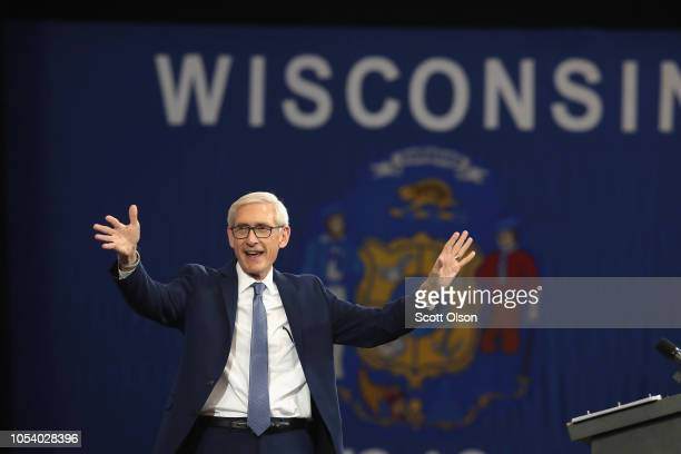 Tony Evers, Democratic candidate for governor of Wisconsin, speaks at a rally in support of Wisconsin Democrats at North Division High School on...