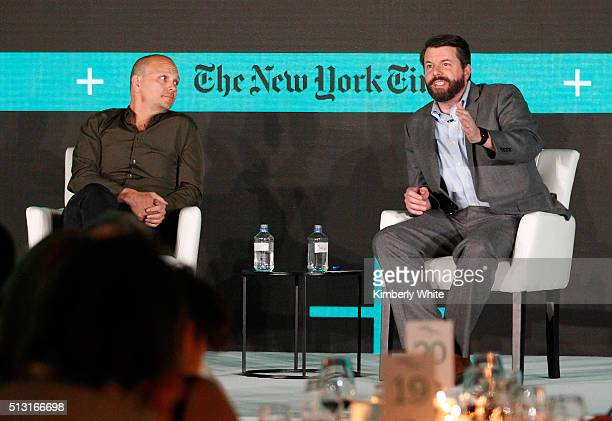 Tony Fadell Founder and CEO of Nest and SVP of Google and Charles Duhigg Senior Editor of The New York Times speak onstage at The New York Times New...
