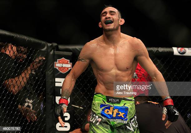 Tony Ferguson celebrates after defeating Abel Trujillo in their fight during the UFC 181 event at the Mandalay Bay Events Center on December 6 2014...
