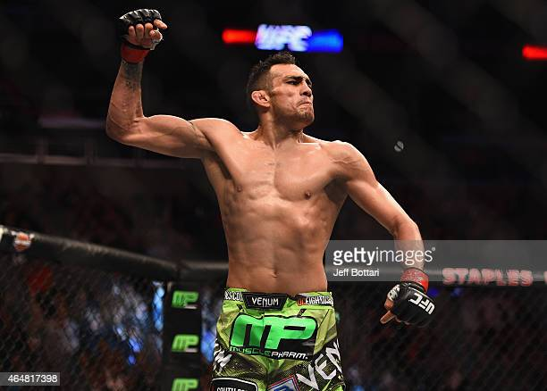 Tony Ferguson celebrates after defeating Gleison Tibau in their lightweight bout during the UFC 184 event at Staples Center on February 28, 2015 in...