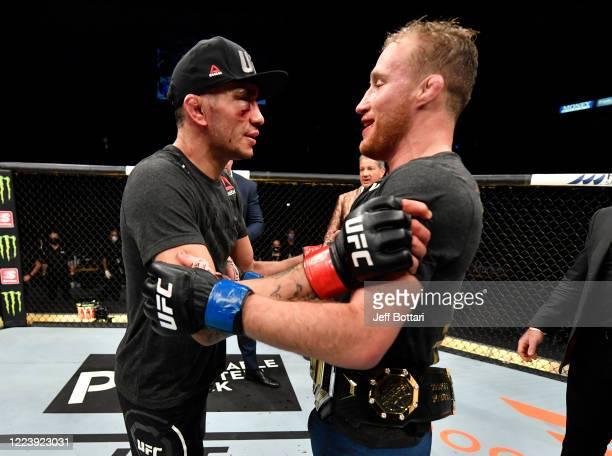 Tony Ferguson congratulates Justin Gaethje after his victory in their UFC interim lightweight championship fight during the UFC 249 event at VyStar...