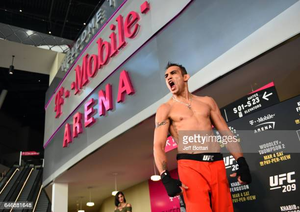 Tony Ferguson holds an open workout for fans and media inside TMobile Arena on March 1 2017 in Las Vegas Nevada
