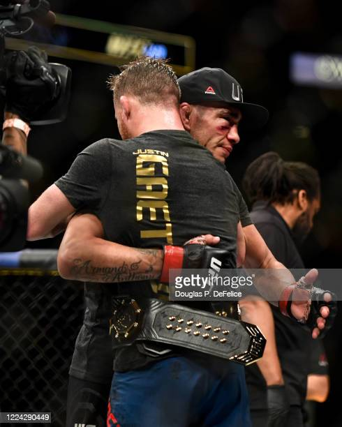 Tony Ferguson of the United States congratulates Justin Gaethje of the United States after being defeated by him in their Interim lightweight title...