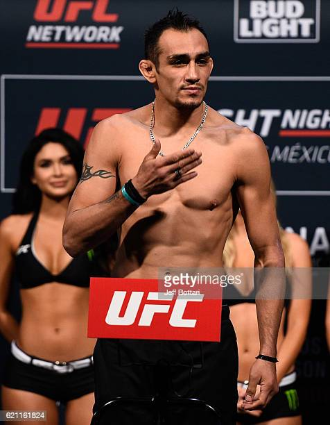 Tony Ferguson of the United States steps onto the scale during the UFC weighin at the Arena Ciudad de Mexico on November 4 2016 in Mexico City Mexico