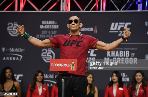 Tony Ferguson poses during a ceremonial weighin for UFC 229 at TMobile Arena on October 05 2018 in Las Vegas Nevada Ferguson will fight Anthony...