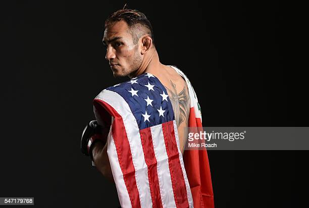 Tony Ferguson poses for a post fight portrait backstage during the UFC Fight Night event on July 13 2016 at Denny Sanford Premier Center in Sioux...