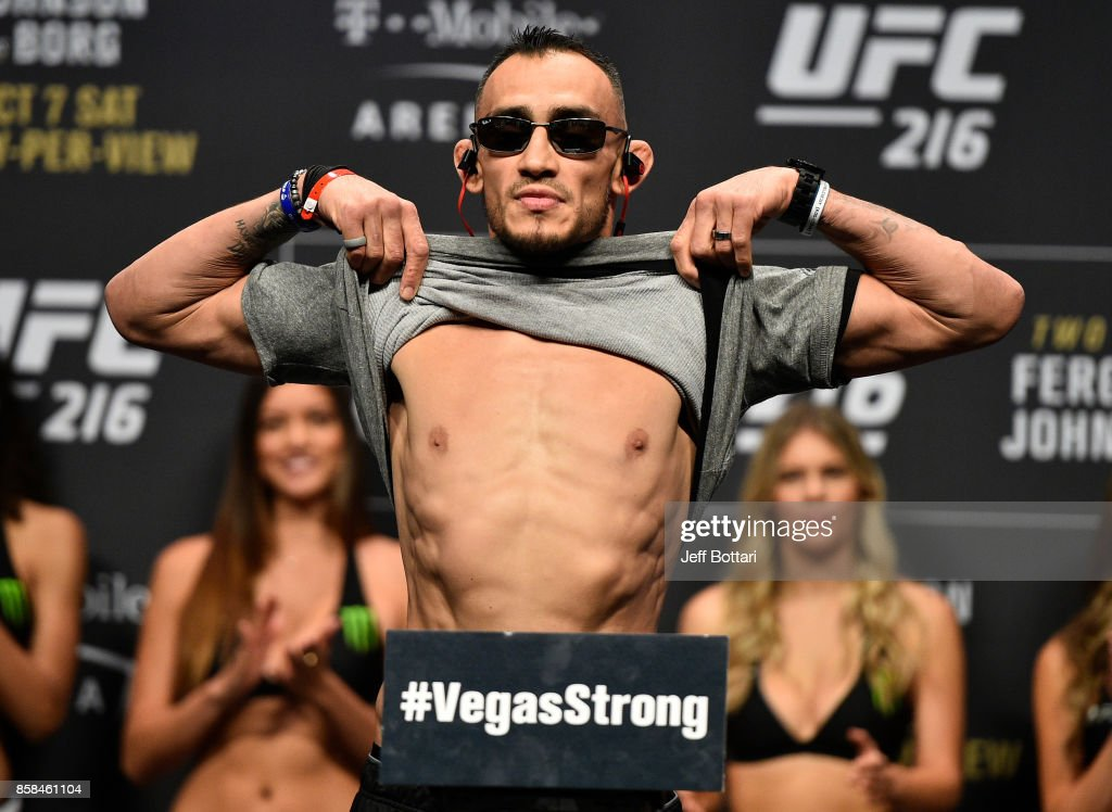 Tony Ferguson poses on the scale during the UFC 216 weigh-in inside T-Mobile Arena on October 6, 2017 in Las Vegas, Nevada.