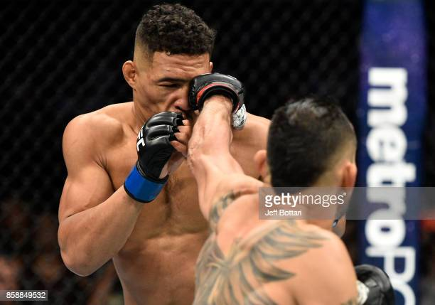 Tony Ferguson punches Kevin Lee in their interim UFC lightweight championship bout during the UFC 216 event inside TMobile Arena on October 7 2017 in...