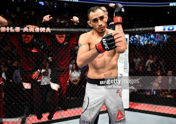 Tony Ferguson stands in the Octagon prior to his interim UFC lightweight championship bout against Kevin Lee during the UFC 216 event inside TMobile...