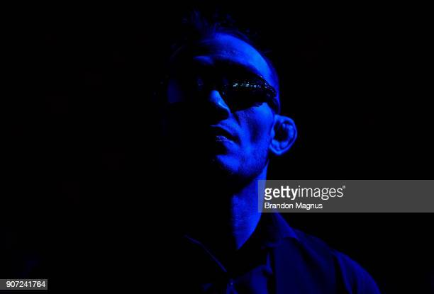 Tony Ferguson waits backstage during the UFC press conference at TD Garden on January 19 2018 in Boston Massachusetts