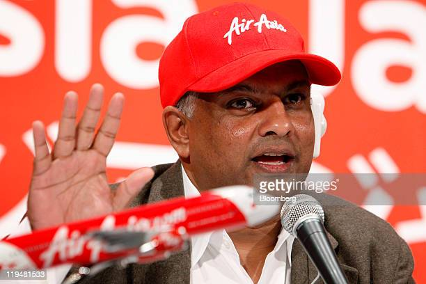 Tony Fernandes chief executive officer of AirAsia Bhd speaks during a joint news conference with Shinichiro Ito president of All Nippon Airways Co...