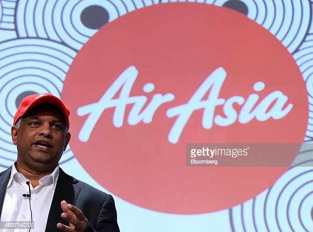 Tony Fernandes chief executive officer of AirAsia Bhd speaks during a session at the New Economy Summit in Tokyo Japan on Thursday April 10 2014 The...