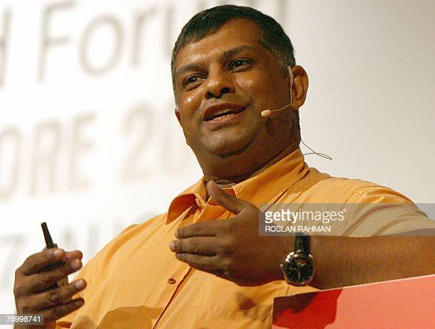 Tony Fernandes group CEO of AirAsia talks at the Global Brand Forum in Singapore 07 August 2007 The twoday forum is featuring global leaders from...