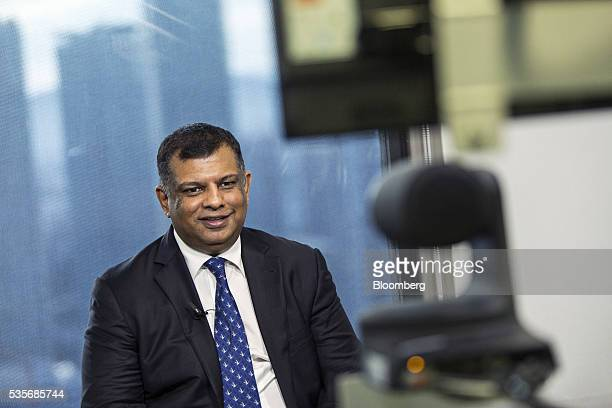 Tony Fernandes group chief executive officer of AirAsia Bhd speaks during a Bloomberg Television interview in Kuala Lumpur Malaysia on Monday May 30...