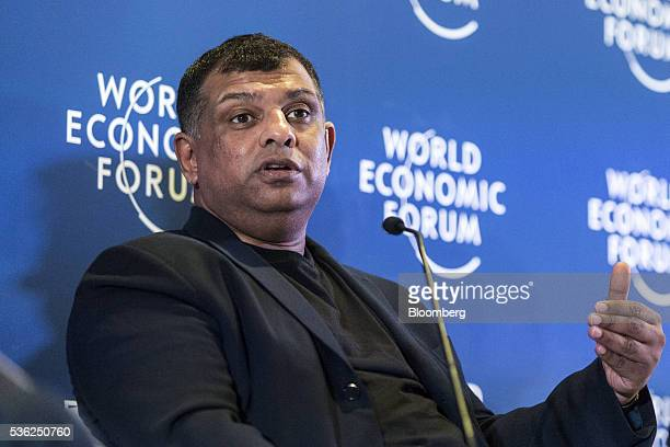 Tony Fernandes group chief executive officer of AirAsia Bhd speaks during a news conference at the World Economic Forum for Association of Southeast...