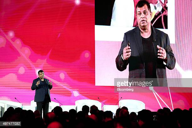 Tony Fernandes group chief executive officer of AirAsia Bhd speaks at the AsiaPacific Economic Cooperation CEO Summit in Manila the Philippines on...